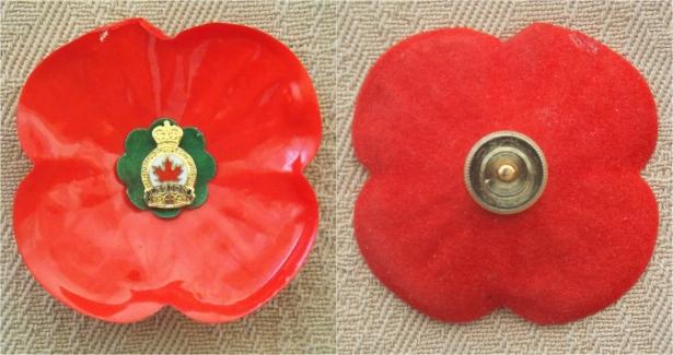 Royal Canadian Legion Poppy - 'twixt 1980-2002 - and badge. Courtesy/© of Heather Anne Johnson.