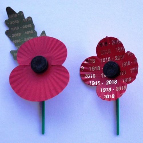 """Two 'Special Edition' Centenary Remembrance Poppies. Left: English """"Gold Leaf"""" poppy. Right: Scottish """"Centenary Poppy"""" 1918 - 2018. Courtesy/© of Heather Anne Johnson."""