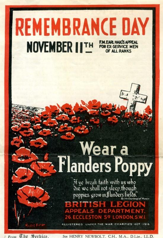 British Legion Remembrance Day Poster. c1927. Courtesy/© of Neil Storey.